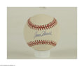 Autographs:Cut-outs, TOM SEAVER SINGLE SIGNED BASEBALL. One of baseball's all-...