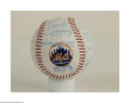 Autographs:Cut-outs, 1986 NEW YORK METS TEAM SIGNED BASEBALL. This is a NL ...