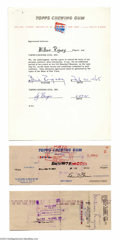 Autographs:Checks, Bill Rigney Signed Topps Contracts and Checks. Four rare ...