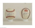 Autographs:Cut-outs, CARL YASTRZEMSKI SINGLE SIGNED BASEBALLS LOT OF 2. A pair ... (2items)