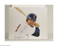 Baseball Collectibles:Others, CARL YASTRZEMSKI PAINTING AND BAT BY ARTIST LAMONTAGNE. ... (2items)