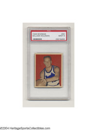 "1948 BOWMAN WILLIAM ""RED"" HOLZMAN #32 Mint PSA 9. Holzman, featured here with the Rochester Royals, had a nice..."