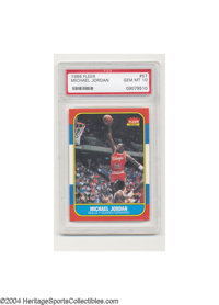 1986 FLEER MICHAEL JORDAN #57 Gem Mint PSA 10. This is the definitive basketball card of the modern era, and it is prese...