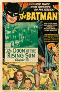 "Movie Posters:Serial, The Batman (Columbia, 1943). Fine+on Linen. One Sheet (27"" X 41"") Chapter 15 -- ""The Doom of the Rising Sun."" . ..."