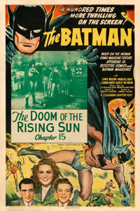 "The Batman (Columbia, 1943). Fine+on Linen. One Sheet (27"" X 41"") Chapter 15 -- ""The Doom of the Rising S..."