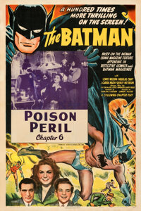 "The Batman (Columbia, 1943). Fine on Linen. One Sheet (27.5"" X 41"") Chapter 6 -- ""The Poison Peril.""..."