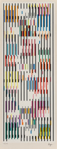 Prints & Multiples, Yaacov Agam (b. 1928). Tapestry, circa 1980. Screenprint in colors on wove paper. 20 x 7-5/8 inches (50.8 x 19.4 cm) (im...