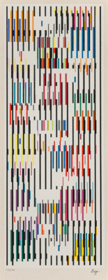 Yaacov Agam (b. 1928) Tapestry, circa 1980 Screenprint in colors on wove paper 20 x 7-5/8 inches