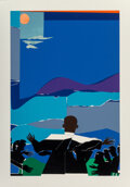 Prints & Multiples, Romare Howard Bearden (1911-1988). Martin Luther King Jr. - Mountain Top, 1968. Screenprint in colors on paper. 29-3/4 x...