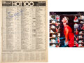 """Music Memorabilia:Autographs and Signed Items, Olivia Newton-John: Signed Billboard Hot 100 Chart for """"Physical"""" (November 21, 1981) With Color Photo...."""