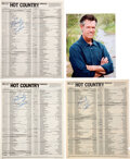 """Music Memorabilia:Autographs and Signed Items, Randy Travis: Three Signed Billboard Hot Country Singles Charts for """"Diggin' Up Bones"""" (1986), """"I Won't Need You A..."""