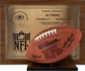 Football Collectibles:Balls, 1979 Green Bay Packers 1000th Game in Franchise History Game Football and Plaque Presented to Team Staffer Al Treml....