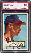 Baseball Cards:Singles (1950-1959), 1952 Topps Chet Nichols #288 PSA Mint 9 - Only One Higher....