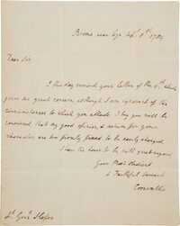 Charles Cornwallis Autograph Letter Signed