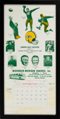 Football Collectibles:Others, 1974 Green Bay Packers Greats Oversized Advertising Calendar - With Lambeau, Lombardi, etc....