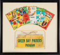 Football Collectibles:Others, 1960's Green Bay Packers Lambeau Field Program Vendor Apron Display With Original Program Covers....