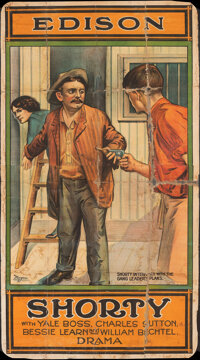 "Shorty (Edison Manufacturing Co., 1914). Folded on Canvas Good+. Three Sheet (40.5"" X 75""). Drama"