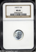 Roosevelt Dimes: , 1955-S MS66 NGC. ...