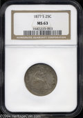 Seated Quarters: , 1877-S MS63 NGC. ...