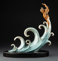Erté (Romain de Tirtoff) (Russian/French, 1892-1990) The Wave, 1988 Cold painted bronze 15-1/2 in