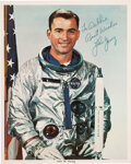 Explorers:Space Exploration, John Young Signed Silver Spacesuit Color Photo. A...