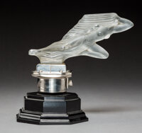 Red Ashay Atalanta Frosted Glass and Nickel Silver Automobile Mascot, circa 1930