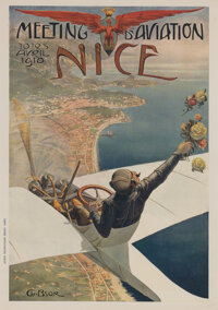 Charles Léonce Brossé (French, 1871-1945) MEETING D'AVIATION, NICE, 1910 Offset lithograph in colors