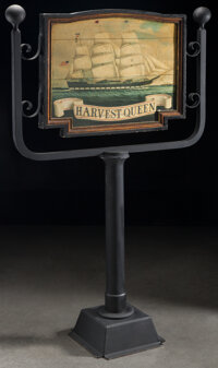 Unique & Historical Harvest Queen Black Ball Line Trade Signpost, 1861 76 x 46-1/