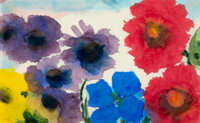 Emil Nolde (1867-1956) Summer Flowers, circa 1945-50 Watercolor on paper 8-7/8 x 14-1/2 inches (2