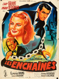 Movie Posters:Hitchcock, Notorious (RKO, R-1954). Folded, Fine+. French Gra...