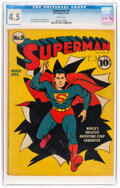 Golden Age (1938-1955):Superhero, Superman #9 (DC, 1941) CGC VG+ 4.5 White pages....