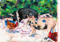 Works on Paper, Billy Sullivan (American, b. 1946). Xcaret Pigs I, 1985. Pastel on paper. 50 x 74 inches (127 x 188.0 cm). Signed and da...