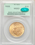 Indian Eagles: , 1926 $10 MS63 PCGS. CAC. PCGS Population: (14368/4926). NGC Census: (16456/5301). CDN: $1,155 Whsle. Bid for NGC/PCGS MS63....