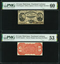 Fractional Currency:Third Issue, Fr. 1274SP 15¢ Third Issue Narrow Margin Pair PMG Graded Uncirculated 60; About Uncirculated 53.. ... (Total: 2 notes)