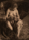Works on Paper, Anders Leonard Zorn (Swedish, 1860-1920). Mending, 1905. Etching on paper . 7-3/4 x 5-3/4 inches (19.7 x 14.6 cm) (image...