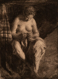 Anders Leonard Zorn (Swedish, 1860-1920) Mending, 1905 Etching on paper 7-3/4 x 5-3/4 inches (19