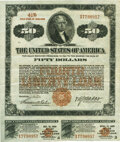 """Miscellaneous, United States - Act of September 24, 1917, Amended April 4, 1918 """"Fourth Liberty Loan"""" $50 4 1/4% Gold Bond of 1933-38. Issued..."""