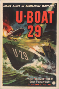 "U-Boat 29 (Columbia, 1939). Fine+ on Linen. One Sheet (27"" X 41""). War"
