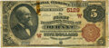 National Bank Notes:Oklahoma, Durant, IT - $5 1882 Brown Back Fr. 477 The First National Bank Ch. # (W)5129 PMG Fine 12.. ...