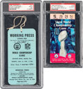 Football Collectibles:Tickets, 1969 Super Bowl III Ticket & Press Badge, PSA Good 2 & Authentic.... (Total: 2 items)