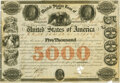 "United States - Act of July 22, 1846 $5000 6% ""United States Loan of 1846"" Registered Bond. Hessler X111I. Iss..."