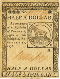 Colonial Notes:Continental Congress Issues, Continental Currency February 17, 1776 $1/2 Fr. CC-21 PMG Choice Very Fine 35. . ...