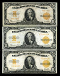 Large Size:Gold Certificates, Fr. 1173 $10 1922 Gold Certificates Two Examples Very Fine+.. Fr.1173a $10 1922 Gold Certificate Very Fine+.... (Total: 3 notes)