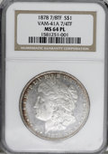 Morgan Dollars, 1878 7/8TF $1 Strong MS64 Prooflike NGC. VAM-41A 7/4 TF. NGCCensus: (54/9). PCGS Population (59/7). Numismedia Wsl. Price...