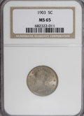 Liberty Nickels: , 1903 5C MS65 NGC. NGC Census: (154/55). PCGS Population (177/85).Mintage: 28,006,724. Numismedia Wsl. Price for NGC/PCGS c...