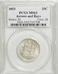 Seated Quarters, 1853 25C Arrows and Rays MS63 PCGS....