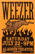 Music Memorabilia:Posters, Weezer Aladdin Theater Concert Poster Signed By Designer Mike King (2000). ...