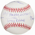 Autographs:Baseballs, 1961 New York Yankees Infield Multi-Signed Baseball....