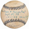 Autographs:Baseballs, 1998 Don Zimmer Single Signed & Game Used Baseball From Joe DiMaggio's last Yankee Stadium Appearance. ...