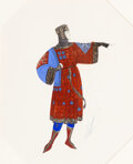 Works on Paper, Erté (Romain de Tirtoff) (Russian/French, 1892-1990). Medieval Knight Costume Design. Gouache on paper. 11-1/4 x 9 inche...
